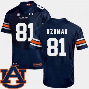 For Men Auburn University #81 C.J. Uzomah Navy College Football SEC Patch Replica Jersey 901340-727
