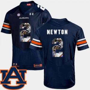 For Men's Auburn #2 Cam Newton Navy Pictorial Fashion Football Jersey 225362-748