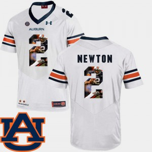 For Men Auburn University #2 Cam Newton White Pictorial Fashion Football Jersey 888472-407