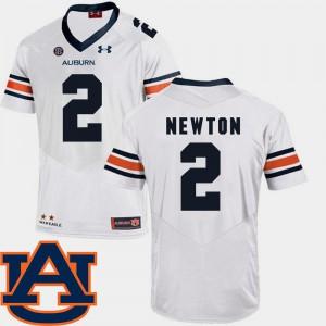 For Men's Auburn #2 Cam Newton White College Football SEC Patch Replica Jersey 120616-988