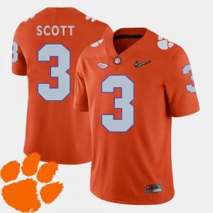 Men's Clemson #3 Artavis Scott Orange College Football 2018 ACC Jersey 206620-860