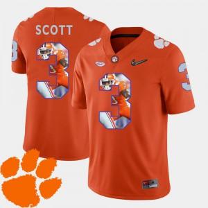 For Men Clemson National Championship #3 Artavis Scott Orange Pictorial Fashion Football Jersey 211302-143