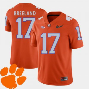 For Men CFP Champs #17 Bashaud Breeland Orange College Football 2018 ACC Jersey 713827-851