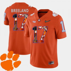 For Men Clemson University #17 Bashaud Breeland Orange Pictorial Fashion Football Jersey 373977-460