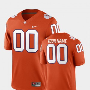 For Men's Clemson Tigers #00 Orange College Football 2018 Game Custom Jersey 845789-327