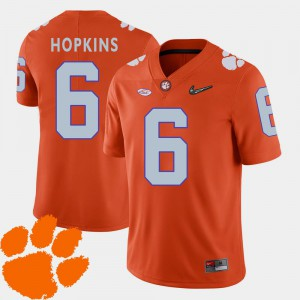 Men's Clemson University #6 DeAndre Hopkins Orange College Football 2018 ACC Jersey 371977-815