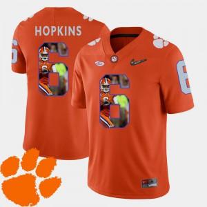 For Men's Clemson Tigers #6 DeAndre Hopkins Orange Pictorial Fashion Football Jersey 806611-759