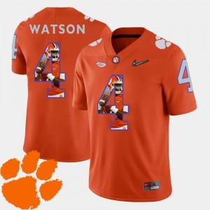 Men's Clemson University #4 DeShaun Watson Orange Pictorial Fashion Football Jersey 687281-594