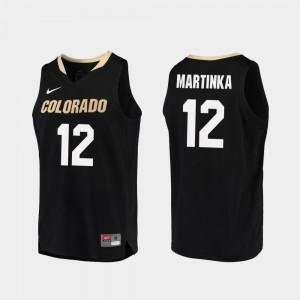 Men's Colorado #12 AJ Martinka Black Replica College Basketball Jersey 847852-421