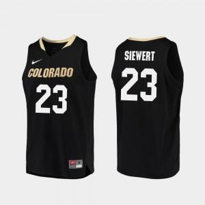 For Men's UC Colorado #23 Lucas Siewert Black Replica College Basketball Jersey 901256-544