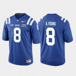 For Men's Duke Blue Devils #8 Aaron Young Royal 2018 Independence Bowl College Football Game Jersey 187578-531