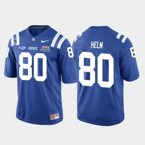 Mens Duke University #80 Daniel Helm Royal 2018 Independence Bowl College Football Game Jersey 885880-339