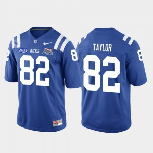 For Men Duke Blue Devils #82 Chris Taylor Royal 2018 Independence Bowl College Football Game Jersey 136630-818