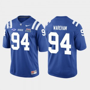 Mens Blue Devils #94 Collin Wareham Royal 2018 Independence Bowl College Football Game Jersey 685185-746