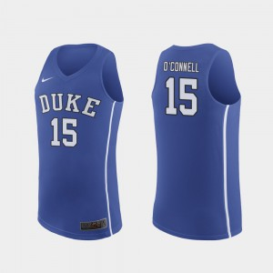 Men's Blue Devils #15 Alex O'Connell Royal Authentic March Madness College Basketball Jersey 380374-483