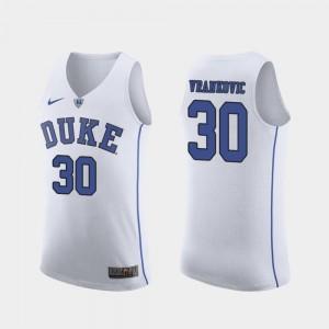 For Men's Duke University #30 Antonio Vrankovic White Authentic March Madness College Basketball Jersey 972288-732