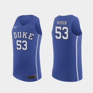 Mens Blue Devils #53 Brennan Besser Royal Authentic March Madness College Basketball Jersey 955770-207