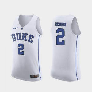 For Men's Duke University #2 Cam Reddish White Authentic March Madness College Basketball Jersey 752826-783
