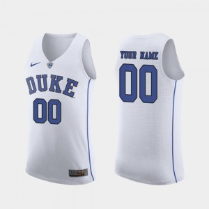 Men's Duke #00 White Authentic March Madness College Basketball Customized Jerseys 890610-334
