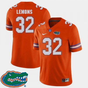 Men's Florida #32 Adarius Lemons Orange College Football 2018 SEC Jersey 360115-634