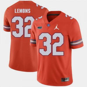 For Men's Florida #32 Adarius Lemons Orange Jordan Brand Replica 2018 Game Jersey 872300-178