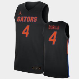 Mens Florida Gators #4 Anthony Duruji Black Replica 2019-20 College Basketball Jersey 837390-791