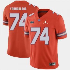 For Men Florida Gator #74 Jack Youngblood Orange Jordan Brand Replica 2018 Game Jersey 702486-994