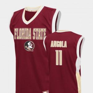 For Men's FSU Seminoles #11 Braian Angola Red Fadeaway College Basketball Jersey 166232-348