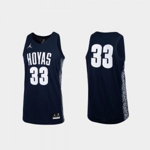 For Men's Georgetown University #33 Navy College Basketball Replica Jersey 358080-188