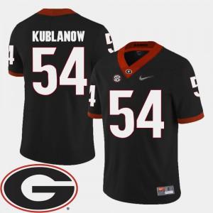 Mens Georgia #54 Brandon Kublanow Black College Football 2018 SEC Patch Jersey 868428-824