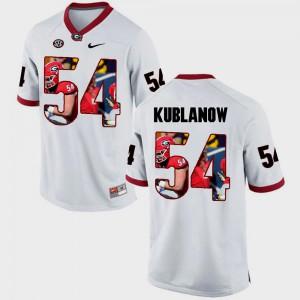 For Men's Georgia Bulldogs #54 Brandon Kublanow White Pictorial Fashion Jersey 826792-801