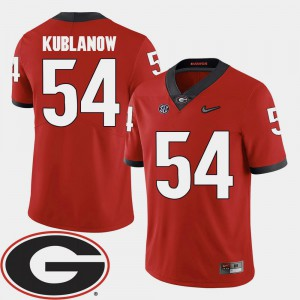 For Men Georgia #54 Brandon Kublanow Red College Football 2018 SEC Patch Jersey 454221-944