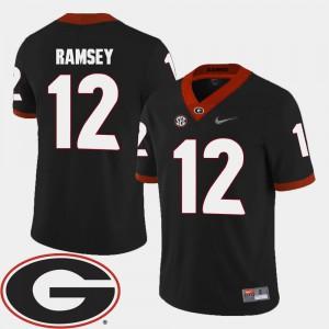 For Men's UGA Bulldogs #12 Brice Ramsey Black College Football 2018 SEC Patch Jersey 111943-511