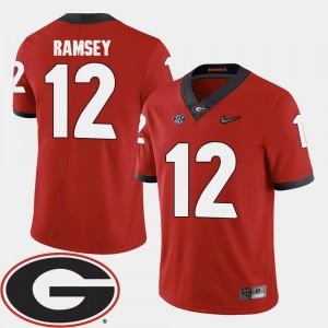 Men GA Bulldogs #12 Brice Ramsey Red College Football 2018 SEC Patch Jersey 765025-817