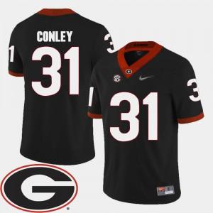 For Men's Georgia Bulldogs #31 Chris Conley Black College Football 2018 SEC Patch Jersey 218221-165