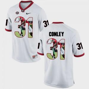 Men GA Bulldogs #31 Chris Conley White Pictorial Fashion Jersey 311502-816