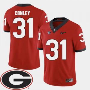 Men University of Georgia #31 Chris Conley Red College Football 2018 SEC Patch Jersey 252840-743