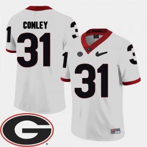 Men's UGA Bulldogs #31 Chris Conley White College Football 2018 SEC Patch Jersey 664417-275