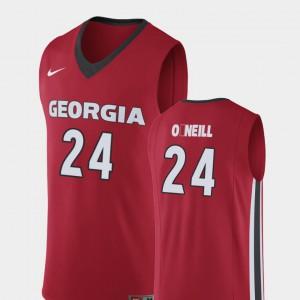 For Men's Georgia Bulldogs #24 Connor O'Neill Red Replica College Basketball Jersey 175233-683