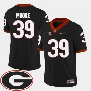 For Men Georgia Bulldogs #39 Corey Moore Black College Football 2018 SEC Patch Jersey 750836-403