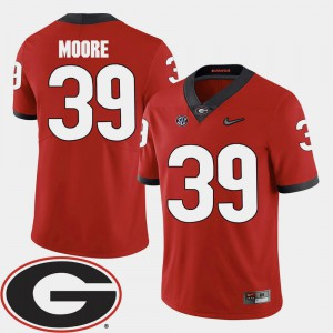 Men's University of Georgia #39 Corey Moore Red College Football 2018 SEC Patch Jersey 122345-890