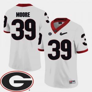 Men's Georgia #39 Corey Moore White College Football 2018 SEC Patch Jersey 756625-261