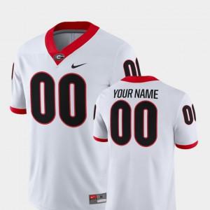 For Men's University of Georgia #00 White College Football 2018 Game Custom Jerseys 384086-834
