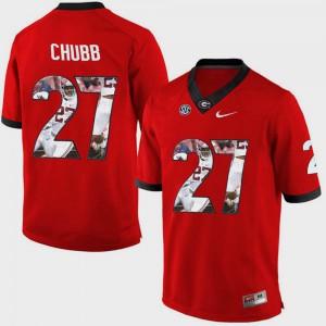 Men UGA Bulldogs #27 Nick Chubb Red Pictorial Fashion Jersey 491229-257