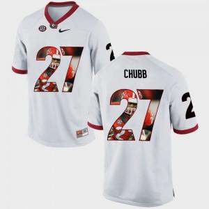 Men University of Georgia #27 Nick Chubb White Pictorial Fashion Jersey 288240-419