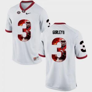 Men UGA #3 Todd Gurley II White Pictorial Fashion Jersey 182370-937