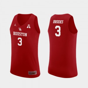 For Men Houston Cougars #3 Armoni Brooks Red Replica College Basketball Jersey 877977-556