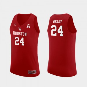 Men's University of Houston #24 Breaon Brady Red Replica College Basketball Jersey 591174-783