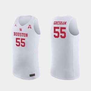 For Men UH Cougars #55 Brison Gresham White Replica College Basketball Jersey 708844-808