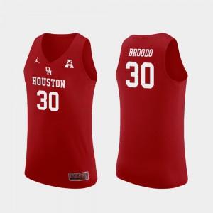Men University of Houston #30 Caleb Broodo Red Replica College Basketball Jersey 632314-225